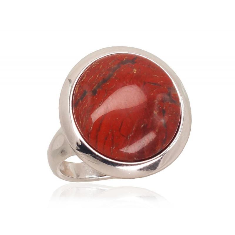 Sidabrinis žiedas 2101727(PRh-Gr)_JA-BR, Sidabras925°, rodis (padengti), Jaspis