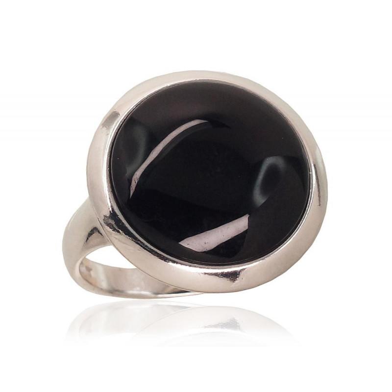 Sidabrinis žiedas 2101727(PRh-Gr)_ON, Sidabras925°, rodis (padengti), Oniksas