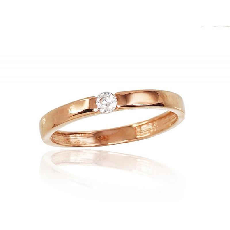 Auksinis žiedas 1100823(Au-R)_CZ, Raudonas Auksas585°, Cirkonai