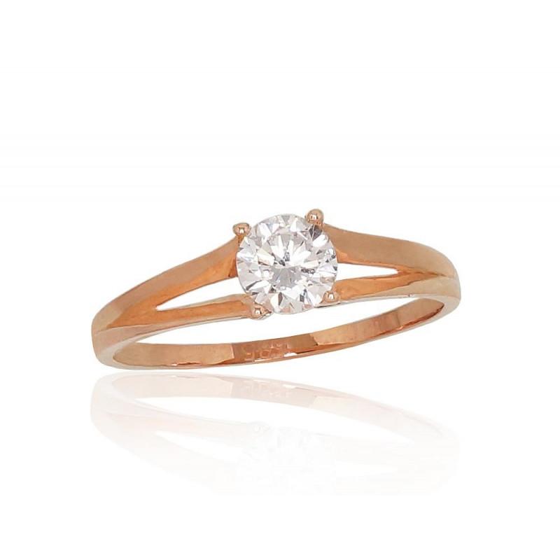 Auksinis žiedas 1100824(Au-R)_CZ, Raudonas Auksas585°, Cirkonai