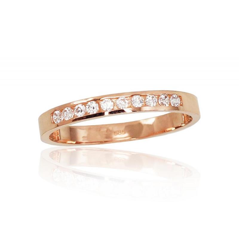 Auksinis žiedas 1100832(Au-R)_CZ, Raudonas Auksas585°, Cirkonai
