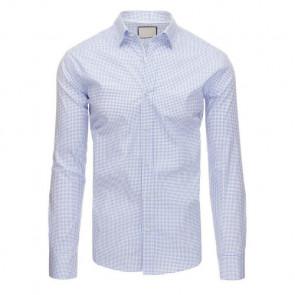 Marškiniai (Biała koszula męska we wzory z długim rękawem DX1396 - Drabuziai rubai internetu