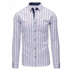 Marškiniai (Biała koszula męska w kratę z długim rękawem DX1308 - Drabuziai rubai internetu
