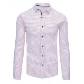 Marškiniai (Biała koszula męska we wzory z długim rękawem DX1461 - Drabuziai rubai internetu