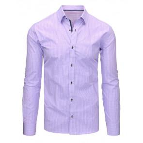 Marškiniai (Fioletowa koszula męska w kratkę z długim rękawem DX1463 - Drabuziai rubai internetu