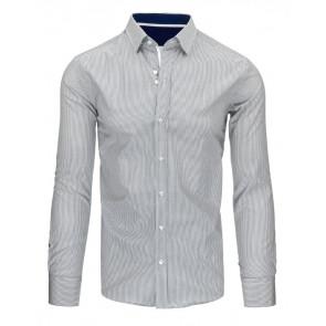 Marškiniai (Biało-szara koszula męska w paski DX1496 - Drabuziai rubai internetu