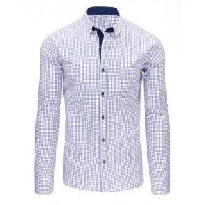 Marškiniai (Granatowo-biała koszula męska w kratę z długim rękawem DX1486 - Drabuziai rubai internetu