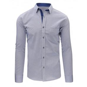 Marškiniai (Granatowo-biała koszula męska w kratę z długim rękawem DX1489 - Drabuziai rubai internetu