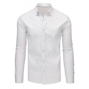 Marškiniai (Biała koszula męska we wzory z długim rękawem DX1498 - Drabuziai rubai internetu