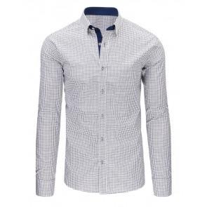 Marškiniai (Czarno-biała koszula męska w kratę z długim rękawem DX1499 - Drabuziai rubai internetu