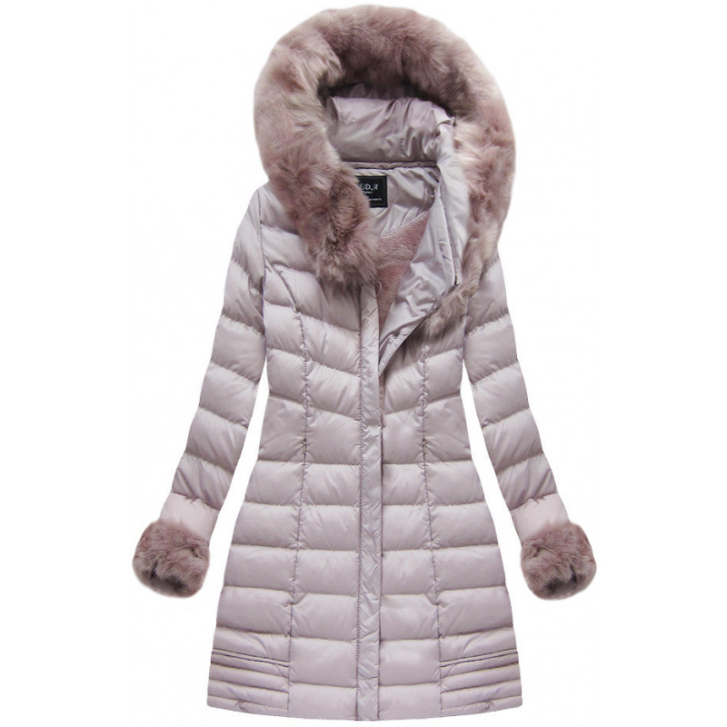 QUILTED HOODED JACKET BLACK (W583) striukė