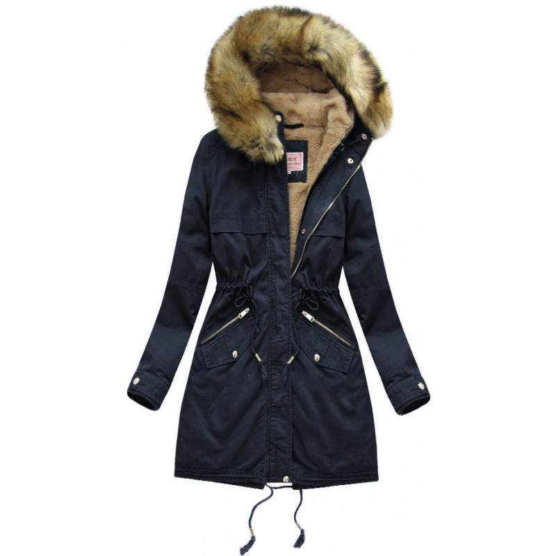 COTTON PARKA WITH LINER NAVY BLUE (W166-1) striukė