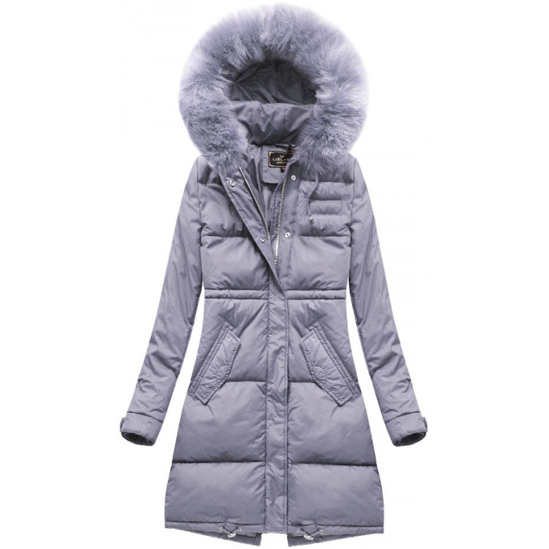 LONG HOODED WINTER JACKET LILAC (7752) striukė