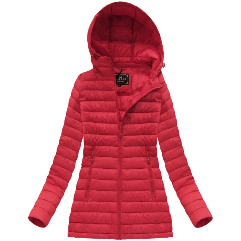 QUILTED HOODED JACKET RED (7236) striukė