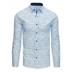 Marškiniai (Koszula męska elegancka we wzory błękitna DX1523 - Drabuziai rubai internetu