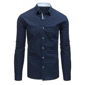 Marškiniai (Koszula męska elegancka we wzory granatowa DX1525 - Drabuziai rubai internetu