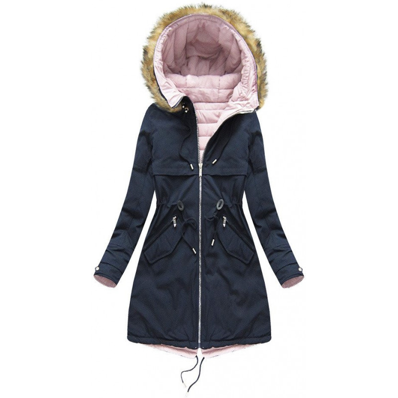 REVERSIBLE HOODED JACKET NAVY BLUE-PINK (W212) striukė