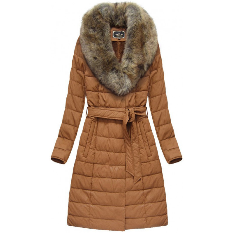 COAT WITH FUR COLLAR GINGERBREAD (5528BIG) striukė
