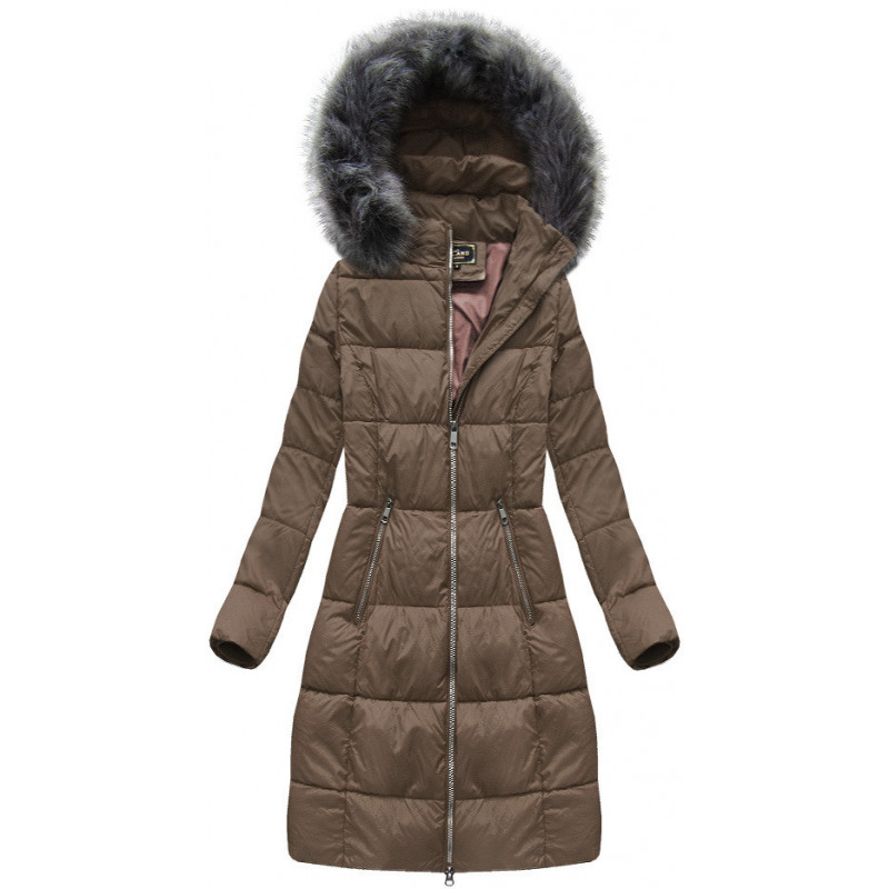 LONG QUILTED COAT NAVY BLUE (7758) striukė