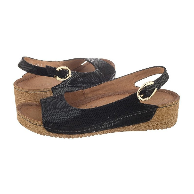 Maciejka Czarne Skóra Węża 01974-20 (MA73-e) sandalai