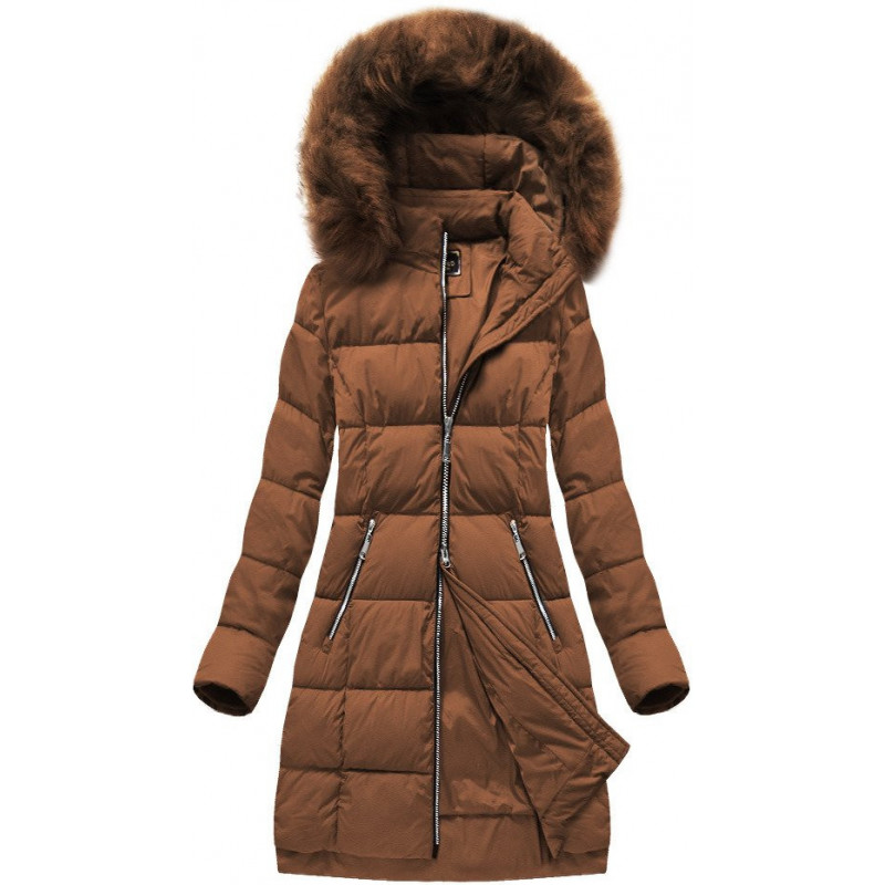 LONG QUILTED HOODED JACKET GINGER (7702BIG) striukė