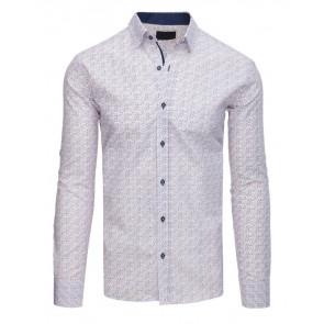 Marškiniai (Koszula męska elegancka we wzory biała DX1560 - Drabuziai rubai internetu