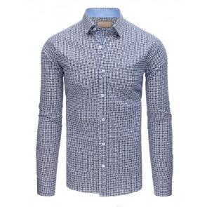 Marškiniai (Koszula męska elegancka we wzory biało-granatowa DX1563 - Drabuziai rubai internetu
