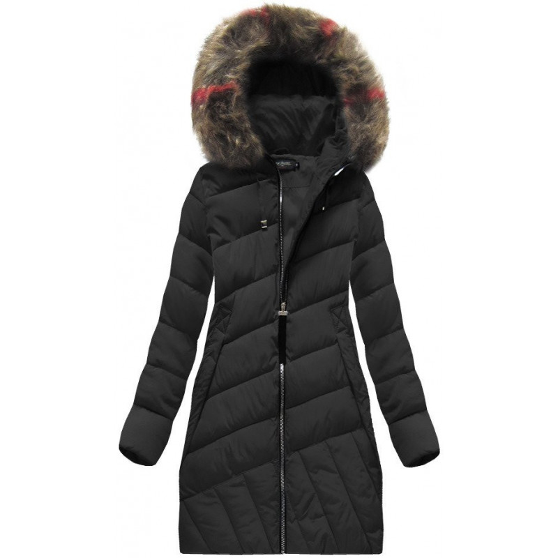 QUILTED HOODED JACKET BLACK (BH-1849) striukė