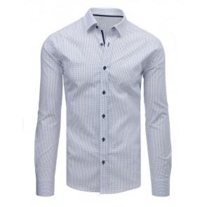 Marškiniai (Koszula męska elegancka we wzory biała DX1608 - Drabuziai rubai internetu