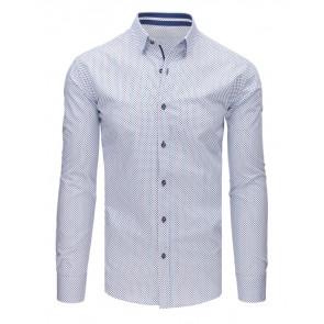 Marškiniai (Koszula męska elegancka we wzory biała DX1647 - Drabuziai rubai internetu