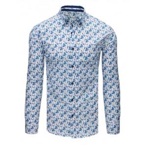 Marškiniai (Elegancka koszula męska we wzory biała DX1674 - Drabuziai rubai internetu