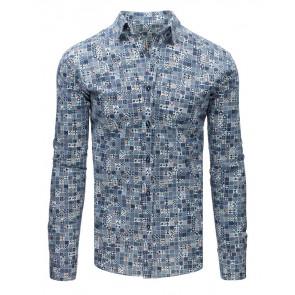 Marškiniai (Elegancka koszula męska w niebieskie wzory DX1677 - Drabuziai rubai internetu