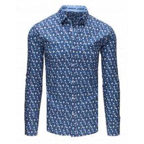 Marškiniai (Koszula męska elegancka we wzory jeansowa DX1644 - Drabuziai rubai internetu