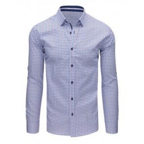Marškiniai (Koszula męska elegancka we wzory biała DX1650 - Drabuziai rubai internetu