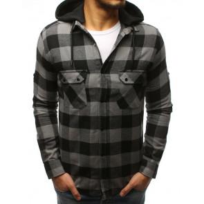 Marškiniai (Koszula męska w kratę szaro-czarną DX1694 - Drabuziai rubai internetu