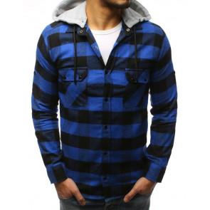 Marškiniai (Koszula męska w kratę niebiesko-czarną DX1695 - Drabuziai rubai internetu