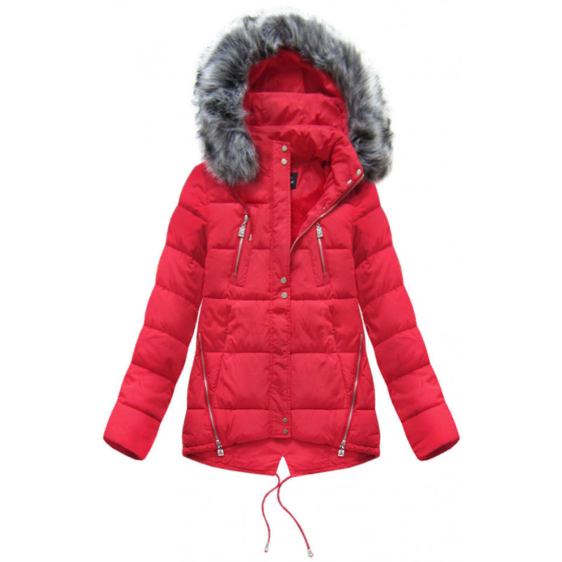 SHORT HOODED JACKET RED (YB917) striukė