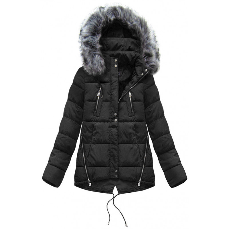 SHORT HOODED JACKET BLACK (YB917) striukė