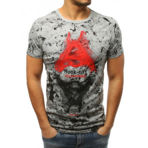 Marškinėliai (T-shirt męski z nadrukiem jasnoszary RX3029 - Drabuziai rubai internetu