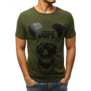 Marškinėliai (T-shirt męski z nadrukiem zielony RX3057 - Drabuziai rubai internetu