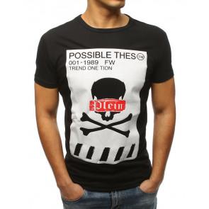 Marškinėliai (T-shirt męski z nadrukiem czarny RX3184 - Drabuziai rubai internetu