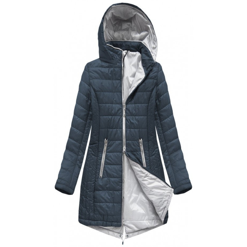 LONG QUILTED JACKET NAVY BLUE (B1088-30) striukė