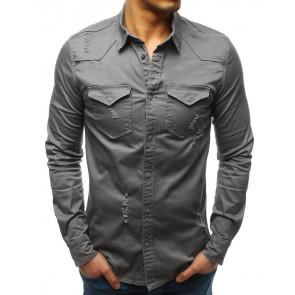 Marškiniai (Koszula męska szara DX1723 - Drabuziai rubai internetu