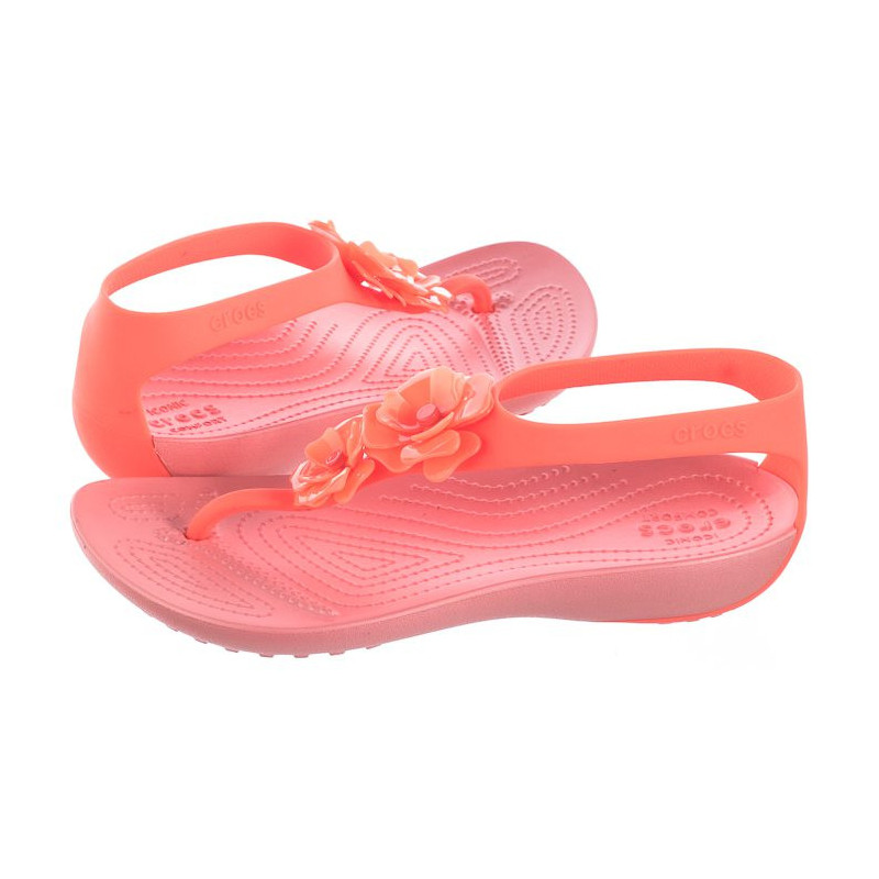 Crocs Serena Embellish Flip W Bright Coral/Melon 205600-6PT (CR172-a) sandalai