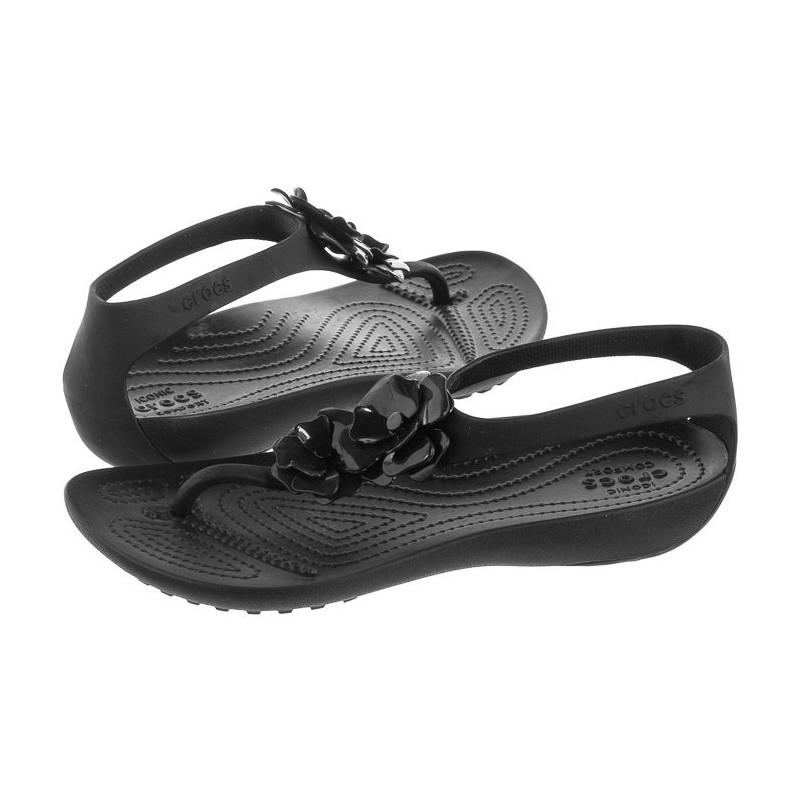 Crocs Serena Embellish Flip W Black 205600-060 (CR172-b) sandalai