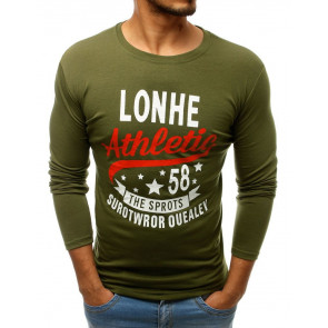 Marškinėliai (Longsleeve męski z nadrukiem zielony LX0506 - Drabuziai rubai internetu