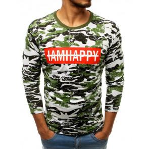 Marškinėliai (Longsleeve męski z nadrukiem moro zielony LX0496 - Drabuziai rubai internetu