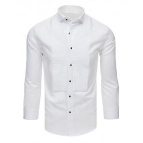 Marškiniai (Koszula smokingowa z plisami biała DX1746 - Drabuziai rubai internetu