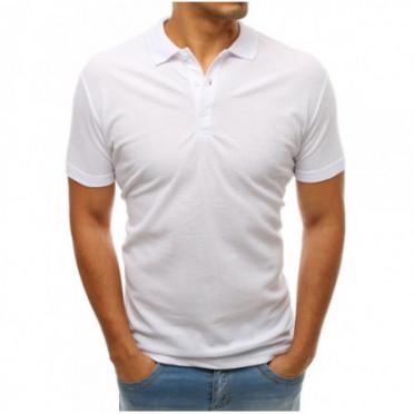 Marškinėliai (Koszulka polo męska biała PX0176 - Drabuziai rubai internetu