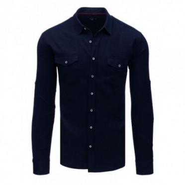 Marškiniai (Koszula męska z długim rękawem granatowa DX1757 - Drabuziai rubai internetu